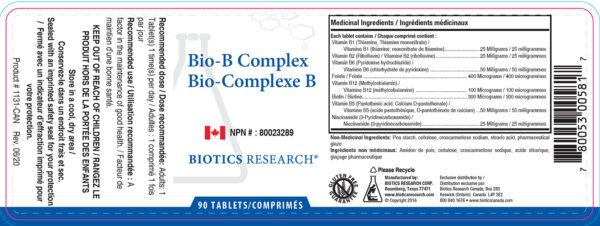 Yum Naturals Emporium - Bringing the Wisdom of Nature to Life - Biotics Bio-B Complex Label