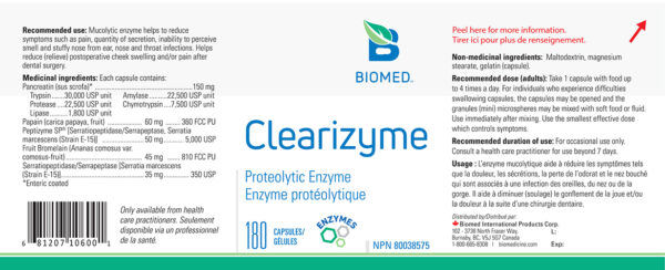 Yum Naturals Emporium - Bringing the Wisdom of Nature to Life - Biomed Clearizyme Label