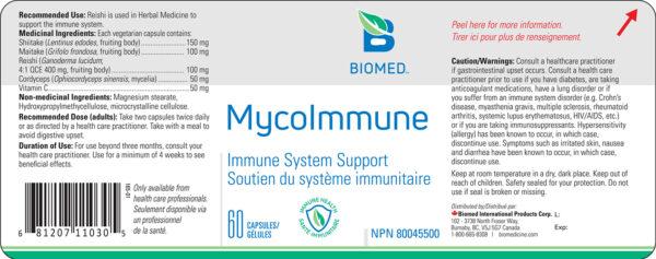 Yum Naturals Emporium - Bringing the Wisdom of Nature to Life - Biomed MycoImmune Label