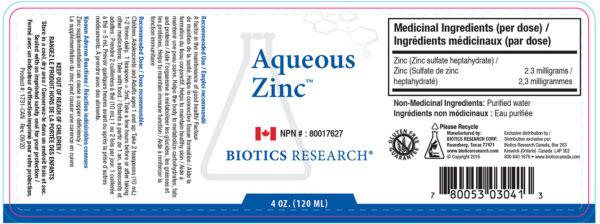 Yum Naturals Emporium - Bringing the Wisdom of Nature to Life - Biotics Aqueous Zinc Label