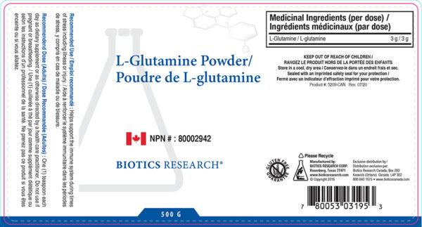 Yum Naturals Emporium - Bringing the Wisdom of Nature to Life - Biotics Amino L-Glutamine Powder Label