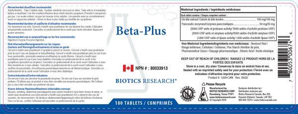 YumNaturals Emporium - Bringing the Wisdom of Nature to Life - Biotics Research Beta Plus Label