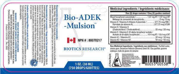 Yum Naturals Emporium - Bringing the Wisdom of Nature to Life - Biotics Bio-ADEK-mulsion Label