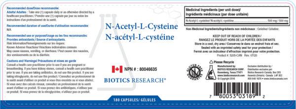 Yum Naturals Emporium - Bringing the Wisdom of Nature to Life - Biotics N-Acetyl-L-Cysteine Label