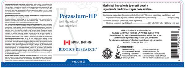 Yum Naturals Emporium - Bringing the Wisdom of Nature to Life - Biotics Potassium HP Label