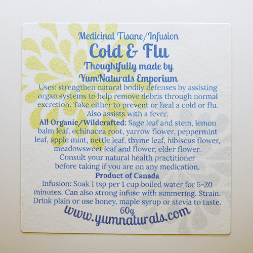 Yum Naturals Emporium - Bringing the Wisdom of Nature to Life - Cold And Flu Herbal Medicinal Tisane Blend