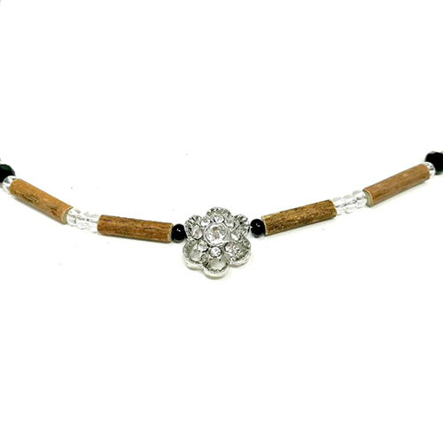 YumNaturals Emporium - Bringing the Wisdom of Mother Nature to Life - Hazelwood Black Clear Necklace Flower Bead 2
