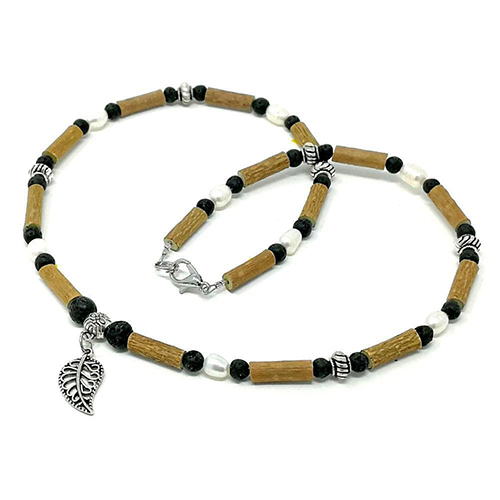 YumNaturals Emporium - Bringing the Wisdom of Mother Nature to Life - Hazelwood Lava Stone Freshwater Pearl Necklace Leaf Bead 1