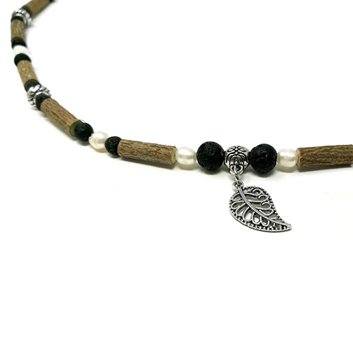 YumNaturals Emporium - Bringing the Wisdom of Mother Nature to Life - Hazelwood Lava Stone Freshwater Pearl Necklace Leaf Bead 2