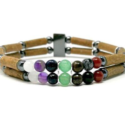 YumNaturals Emporium - Bringing the Wisdom of Mother Nature to Life - Hazel Wood Double Bracelet with Chakra Stones_2