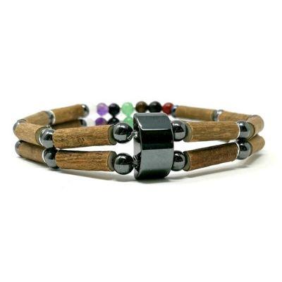 YumNaturals Emporium - Bringing the Wisdom of Mother Nature to Life - Hazel Wood Double Bracelet with Chakra Stones_3