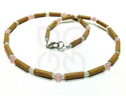 YumNaturals Emporium and Apothecary- Bringing the Wisdom of Mother Nature to Life - Rose Quartz Hazel Wood Necklace