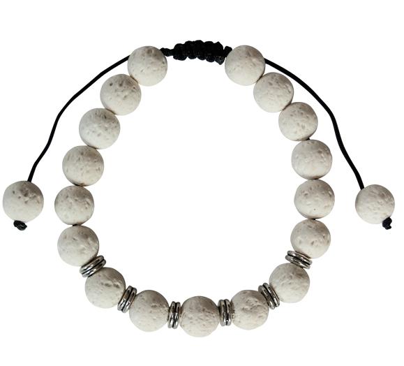 YumNaturals Emporium - Bringing the Wisdom of Nature to Life - White Lava Bead Bracelet