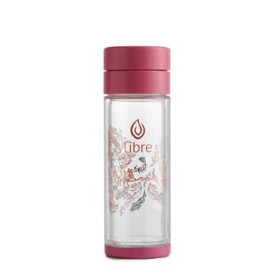 YumNaturals Emporium - Bringing the Wisdom of Mother Nature to Life - Libre Infuser Tea Glass – Garden Dance (Pink)