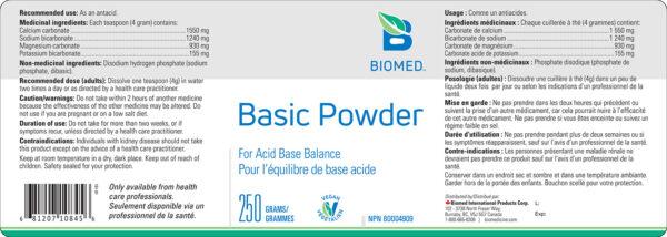 Yum Naturals Emporium - Bringing the Wisdom of Nature to Life - Biomed Basic Powder Label