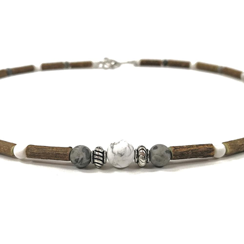 YumNaturals Emporium - Bringing the Wisdom of Mother Nature to Life - Hazelwood Picasso Jasper White Howlite Necklace Large Bead 2