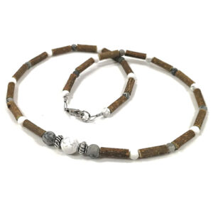 YumNaturals Emporium - Bringing the Wisdom of Mother Nature to Life - Hazelwood Picasso Jasper White Howlite Necklace Large Bead 1