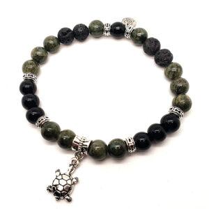 YumNaturals Emporium - Bringing the Wisdom of Mother Nature to Life - Hazelwood Lava Stone Diffuser Green Single Bracelet Turtle Bead 1