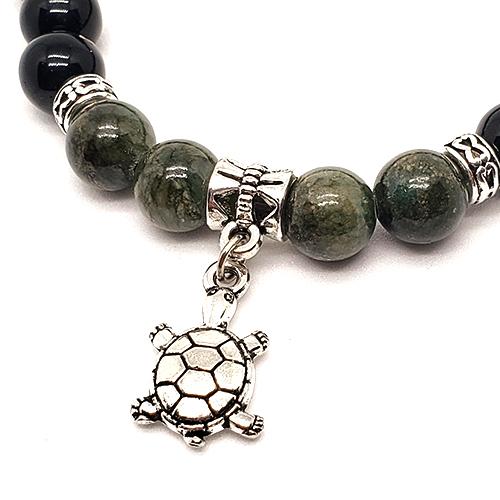 YumNaturals Emporium - Bringing the Wisdom of Mother Nature to Life - Hazelwood Lava Stone Diffuser Green Single Bracelet Turtle Bead 2