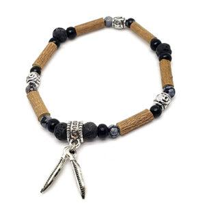 YumNaturals Emporium - Bringing the Wisdom of Mother Nature to Life - Hazelwood Lava Stone Diffuser Snowflake Obsidian Single Bracelet Feathers Bead 1