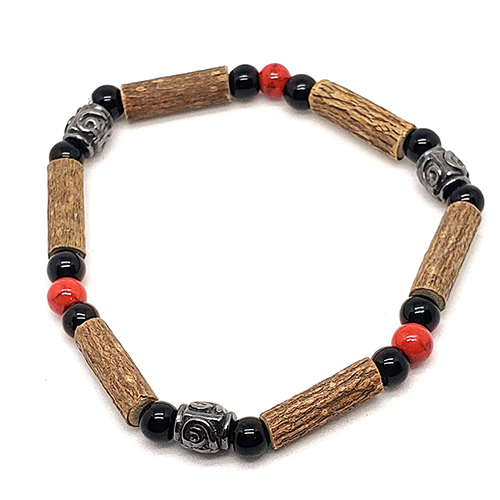 YumNaturals Emporium - Bringing the Wisdom of Mother Nature to Life - Hazelwood Red Coral Single Bracelet Medieval Style 1