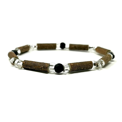 YumNaturals Emporium - Bringing the Wisdom of Mother Nature to Life - Hazelwood Black and Clear Single Bracelet 1