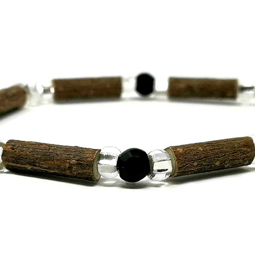 YumNaturals Emporium - Bringing the Wisdom of Mother Nature to Life - Hazelwood Black and Clear Single Bracelet 2