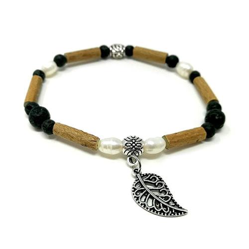 YumNaturals Emporium - Bringing the Wisdom of Mother Nature to Life - Hazelwood Lava Stone Diffuser Freshwater Pearl Single Bracelet Leaf Bead 1