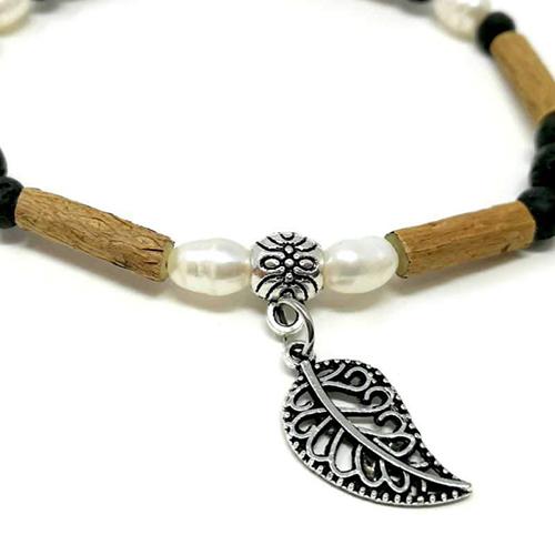 YumNaturals Emporium - Bringing the Wisdom of Mother Nature to Life - Hazelwood Lava Stone Diffuser Freshwater Pearl Single Bracelet Leaf Bead 2