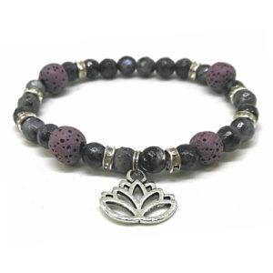 YumNaturals Emporium - Bringing the Wisdom of Mother Nature to Life - Hazelwood Lilac Stone Diffuser Labradorite Single Bracelet Lotus Flower 1