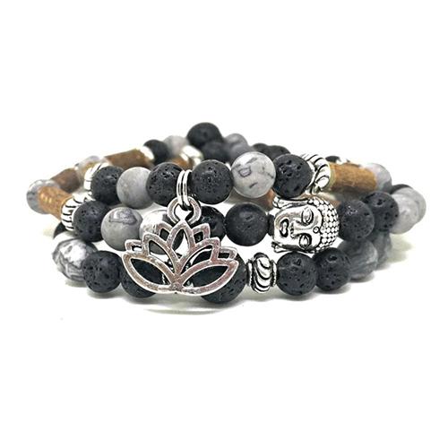 YumNaturals Emporium - Bringing the Wisdom of Mother Nature to Life - Hazelwood Lava Stone Diffuser Picasso Jasper 2-in-1 Bracelet Lotus Charm 2
