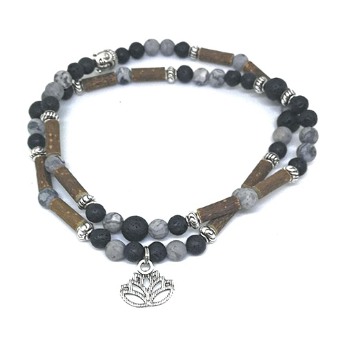 YumNaturals Emporium - Bringing the Wisdom of Mother Nature to Life - Hazelwood Lava Stone Diffuser Picasso Jasper 2-in-1 Bracelet Lotus Charm 3