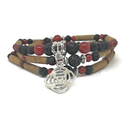 YumNaturals Emporium - Bringing the Wisdom of Mother Nature to Life - Hazelwood Lava Stone Diffuser Red Agate 2-in-1 Root Chakra Charm 2