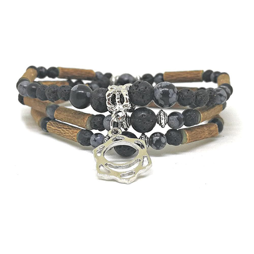 YumNaturals Emporium - Bringing the Wisdom of Mother Nature to Life - Hazelwood Lava Stone Diffuser Snowflake Obsidian 2-in-1 Sacral Chakra 2