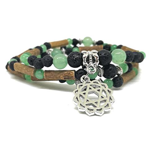 YumNaturals Emporium - Bringing the Wisdom of Mother Nature to Life - Hazelwood Lava Stone Diffuser Green Aventurine 2-in-1 Heart Chakra 2