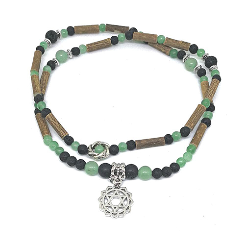 YumNaturals Emporium - Bringing the Wisdom of Mother Nature to Life - Hazelwood Lava Stone Diffuser Green Aventurine 2-in-1 Heart Chakra 3