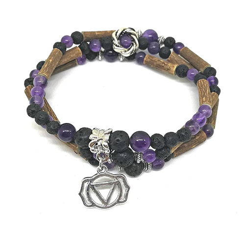 YumNaturals Emporium - Bringing the Wisdom of Mother Nature to Life - Hazelwood Lava Stone Diffuser Amethyst 2-in-1 Third Eye Chakra 1