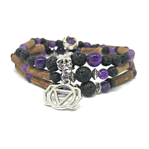 YumNaturals Emporium - Bringing the Wisdom of Mother Nature to Life - Hazelwood Lava Stone Diffuser Amethyst 2-in-1 Third Eye Chakra 2