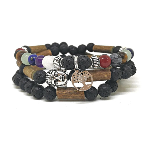 YumNaturals Emporium - Bringing the Wisdom of Mother Nature to Life - Hazelwood Lava Stone Diffuser 7 Chakras 2-in-1 2
