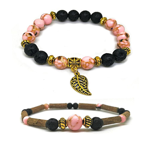 YumNaturals Emporium - Bringing the Wisdom of Mother Nature to Life - Hazelwood Lava Stone Diffuser Pink Shell Duo Bracelet Gold Leaf Bead 1