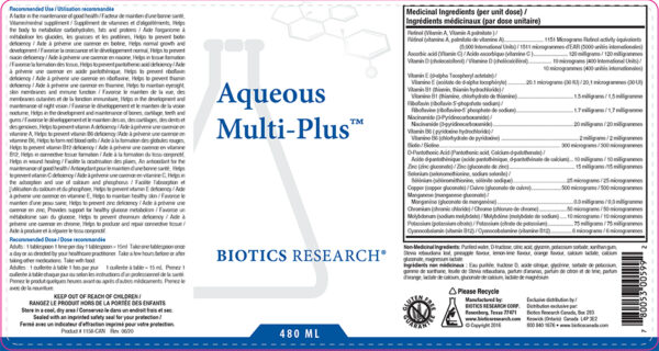 YumNaturals Emporium - Bringing the Wisdom of Nature to Life - Biotics Aqueous Multi-Plus Label