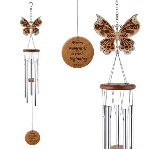 YumNaturals Emporium - Bringing the Wisdom of Nature to Life - Laser Cut Wood Wind Chime Butterfly