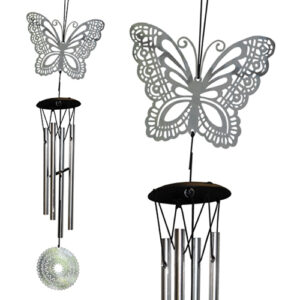 YumNaturals Emporium - Bringing the Wisdom of Nature to Life - Mandala Wind Chime Silver Butterfly
