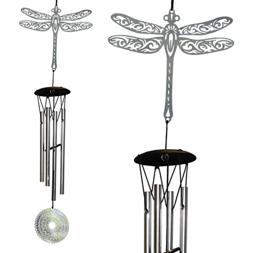 YumNaturals Emporium - Bringing the Wisdom of Nature to Life - Mandala Wind Chime Silver Dragonfly