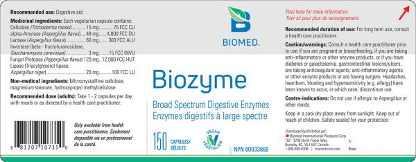 YumNaturals Emporium - Bringing the Wisdom of Nature to Life - Biomed Biozyme Label
