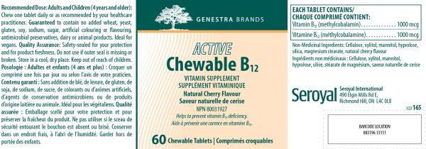 YumNaturals Emporium - Bringing the Wisdom of Nature to Life - Genestra Active Chewable B12 Label