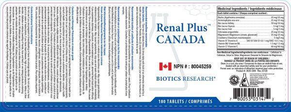 YumNaturals Emporium - Bringing the Wisdom of Nature to Life - Biotics Research Renal-Plus Label